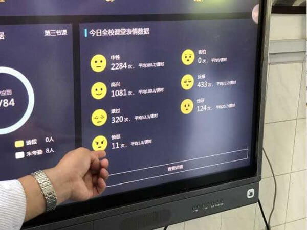 A screen displays the different moods that facial recognition cameras are detecting at Hangzhou Number 11 High School.