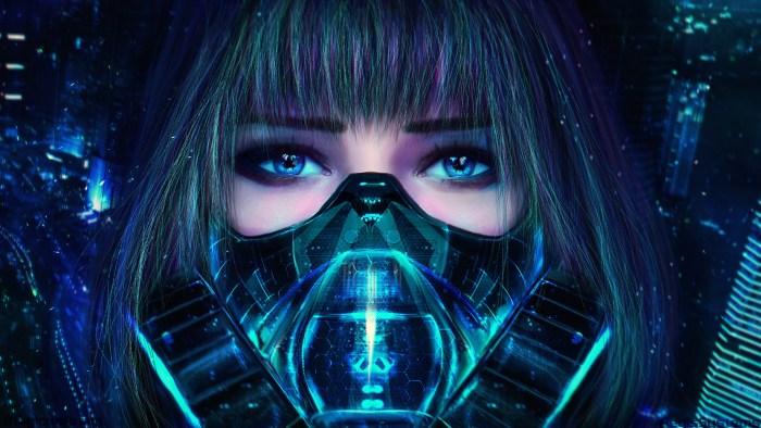 Visage Robot femme bionique cyber h+ transhumanisme tech