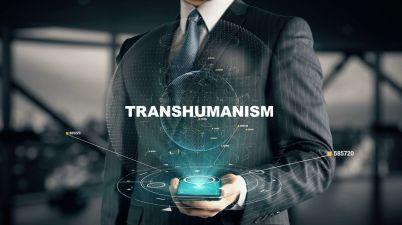 Homme d'affaires concept d'hologramme transhumanisme h+