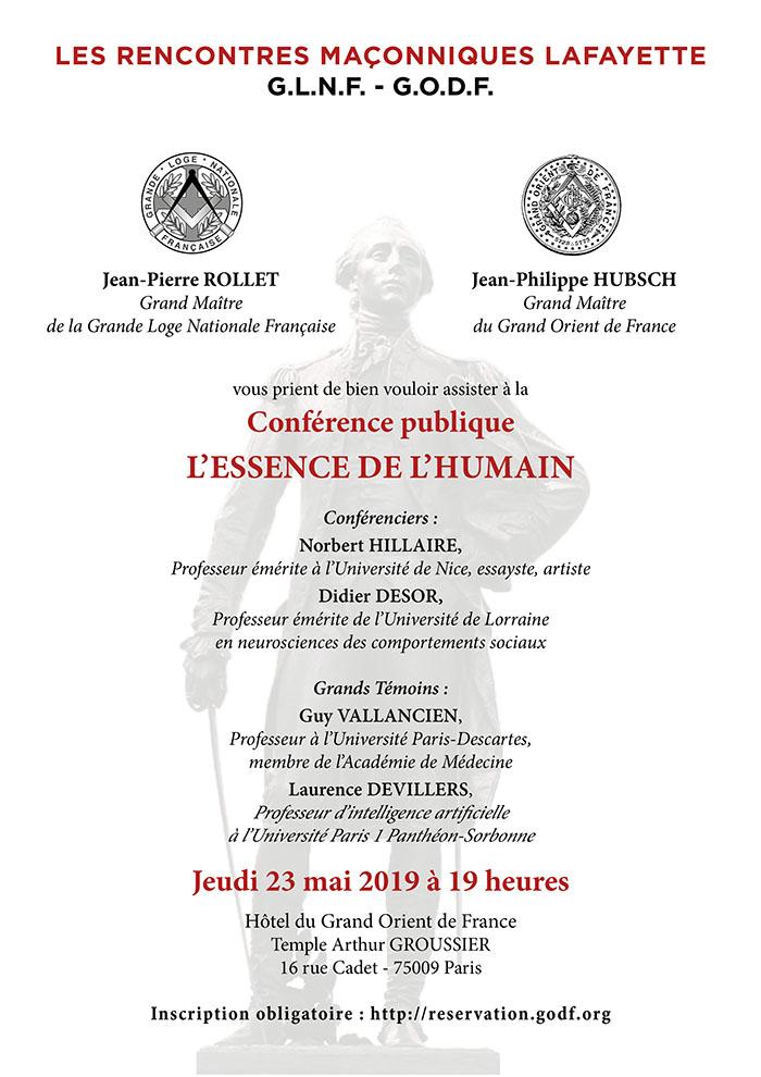 Vèmes Rencontres Maçonniques Lafayette du jeudi 23 mai 2019 au Grand Orient de France.