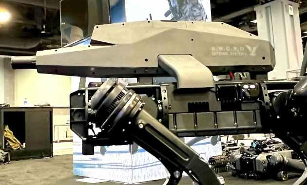 robot chien avec fusil d'assaut
