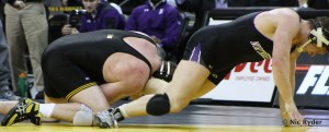 Bobby Telford works to keep Northwestern's Mike McMullan down in a dual earlier this year