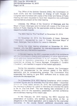 OVER RECOVERY IBAAN ELECTRIC 31.3 MILLION PESOS PAGE 2