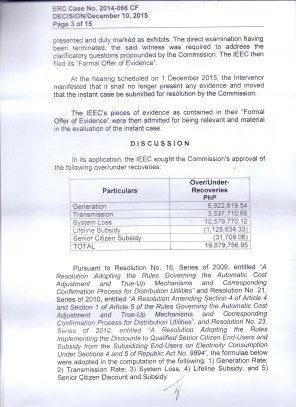 OVER RECOVERY IBAAN ELECTRIC 31.3 MILLION PESOS PAGE 3