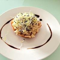 Risotto de hongos con crujiente de queso Idiazabal