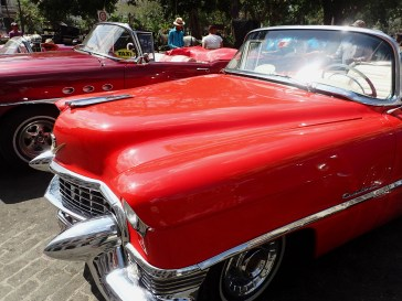 Profile, red Cadillac