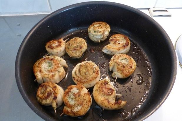 Pan-fried hake rolls