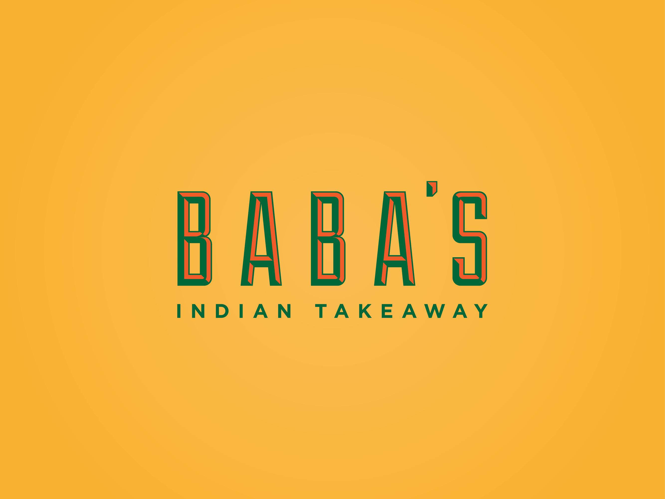 Babas indian takeaway brand identity and menu design
