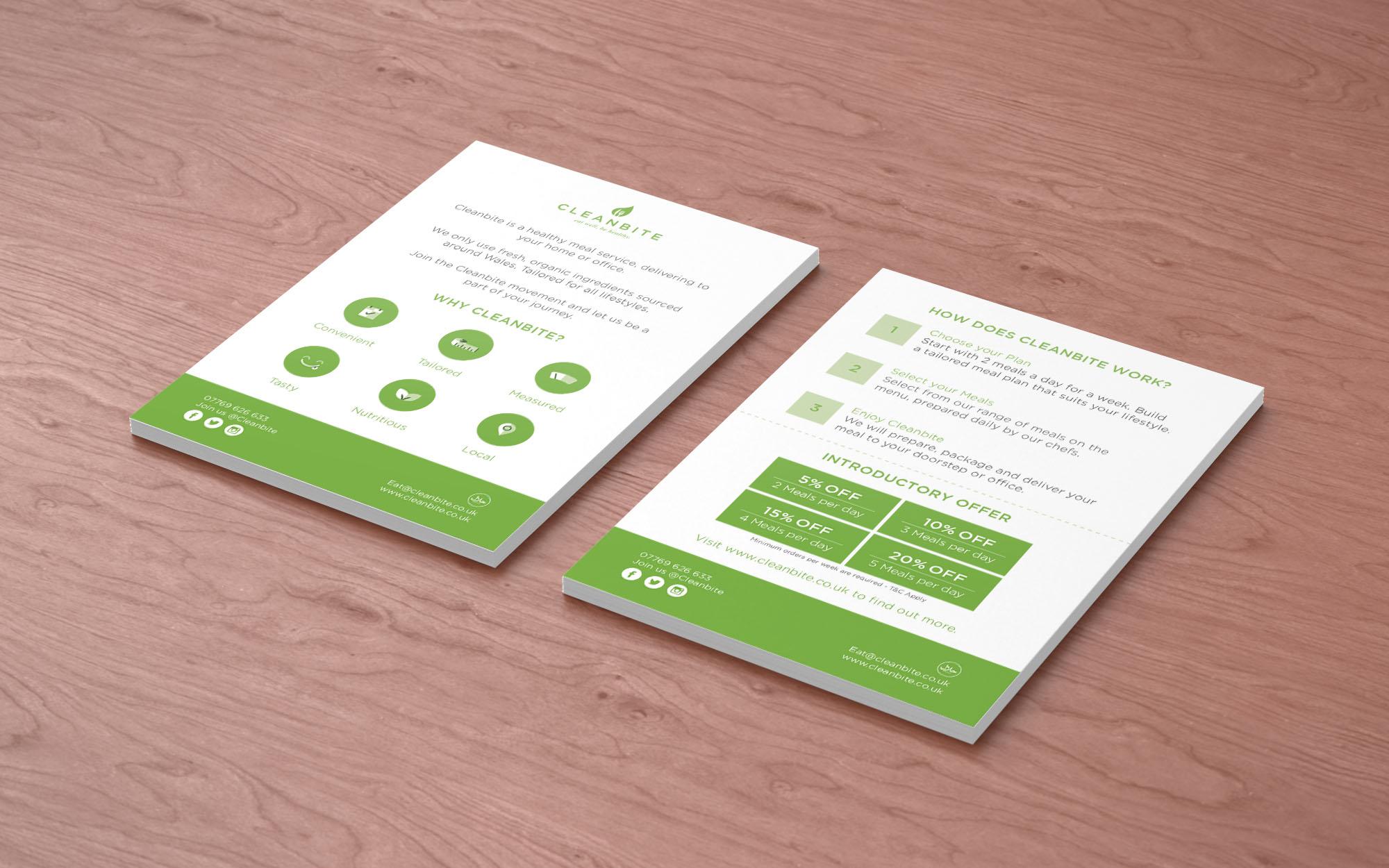 Cleanbite promotional leaflet design Cardiff