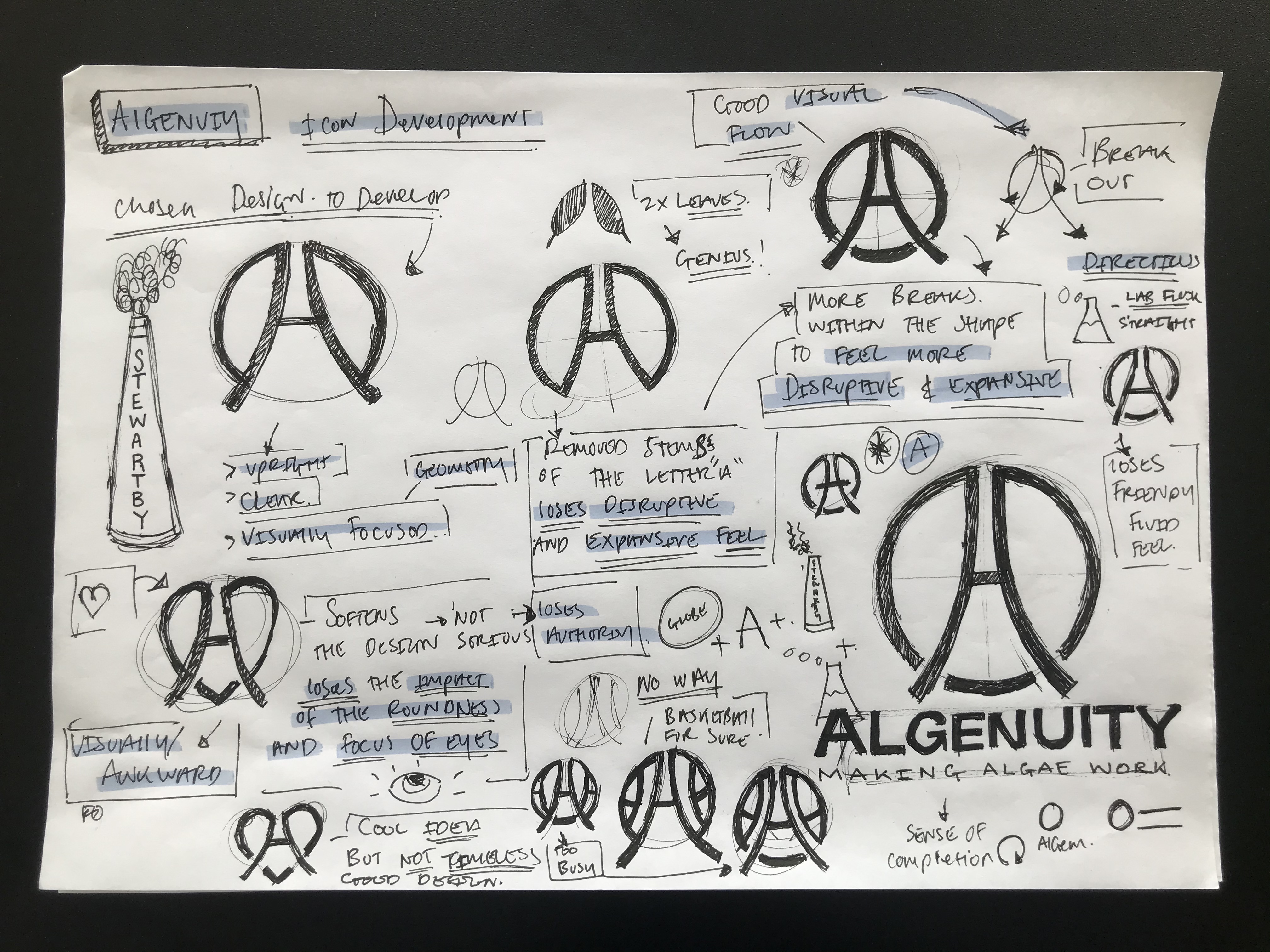 logomark development for biotech company Algenuity
