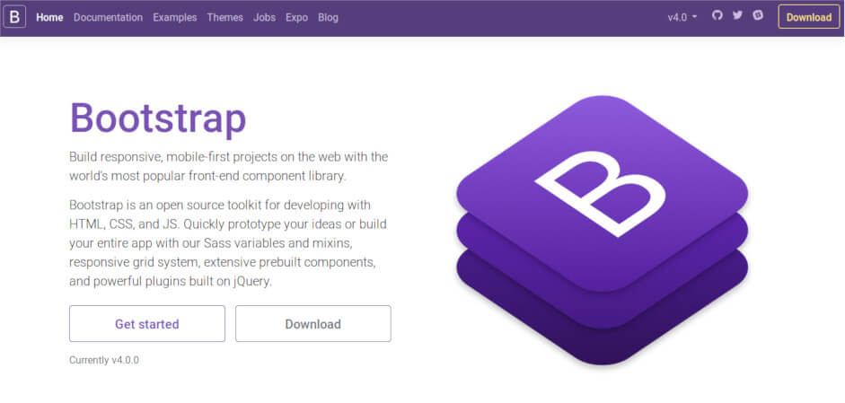 Download and enjoy Bootstrap 4 new features