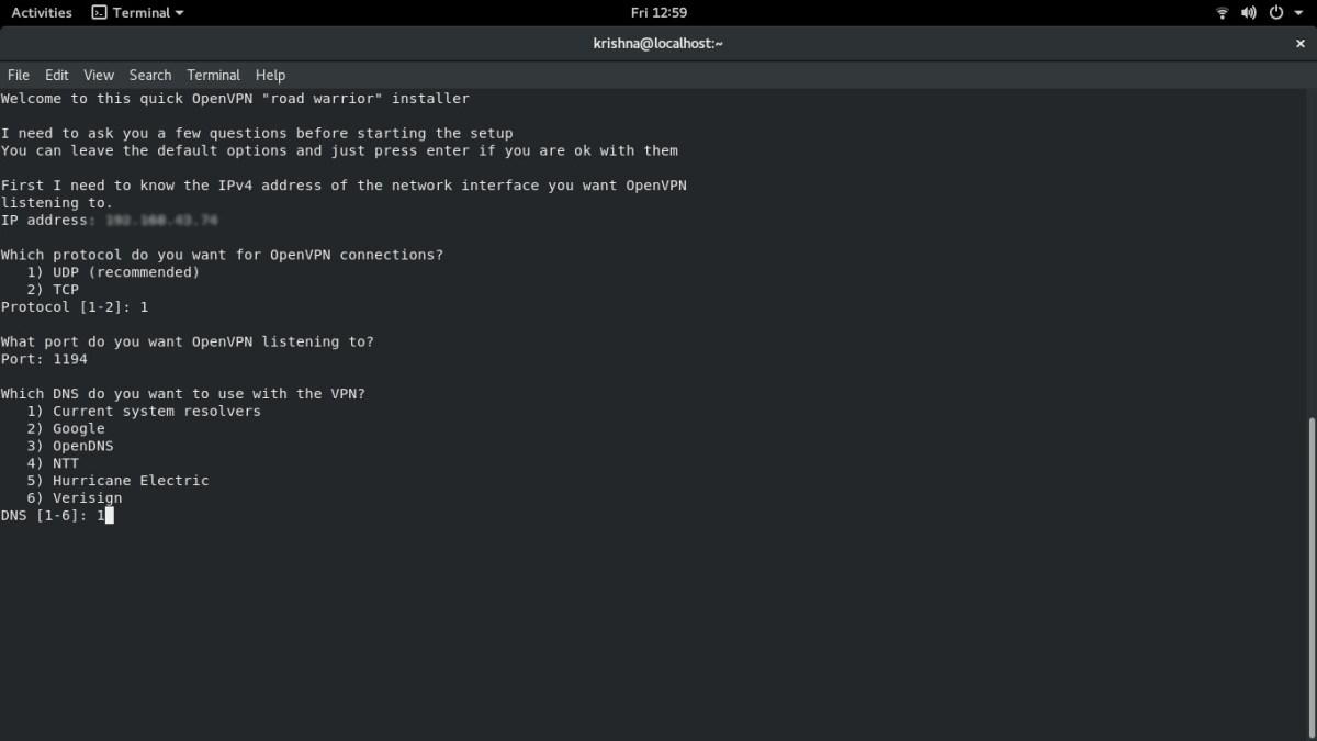 OpenVPN Setup - Running install.sh script