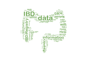 Wordcloud of IBD Registry in the shape of a colon