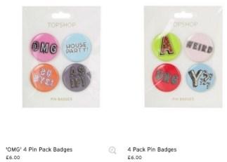 topshop pin pack