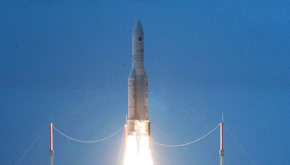 Star One D1 Launch from Kourou on top of an Ariane 5 - Credit ESA - CNES - Arianespace - P Baudon