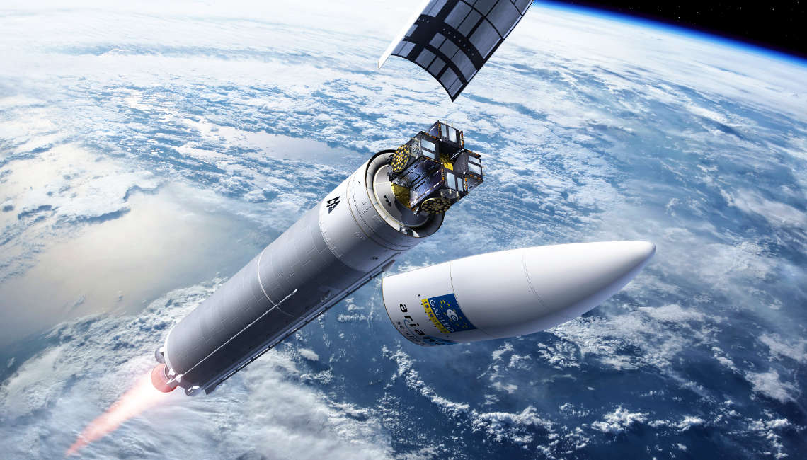 Artist's view of the Galileo 15, 16, 17, 18 launch already in space after aerodynamic fairing is jettisoned