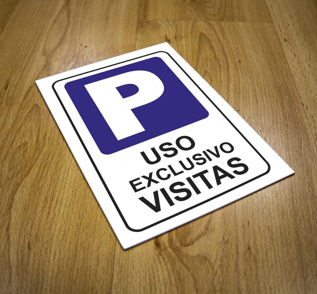 Cartel Parking uso exlusivo VISITAS Tamaño 20 x 30 cm