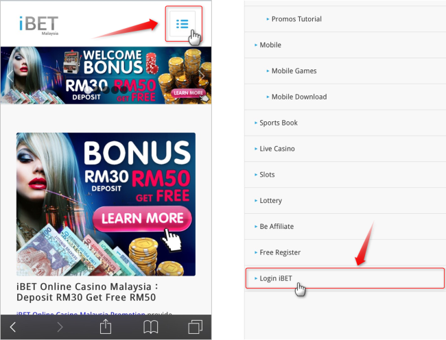 "Access iBET Mobile and click on ""Login""."