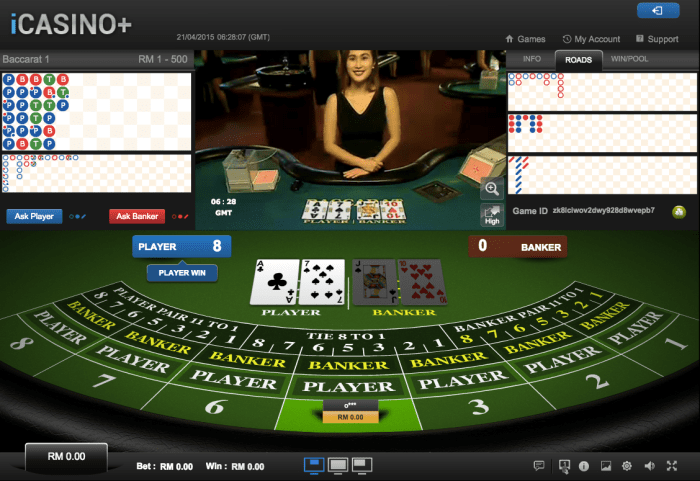 iCASINO+ baccarat game screen