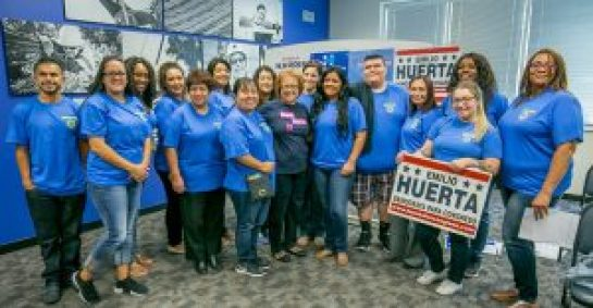 Maria Elena Durazo center, in dark shirt) with a group of Organizing Stewards from the Fresno area