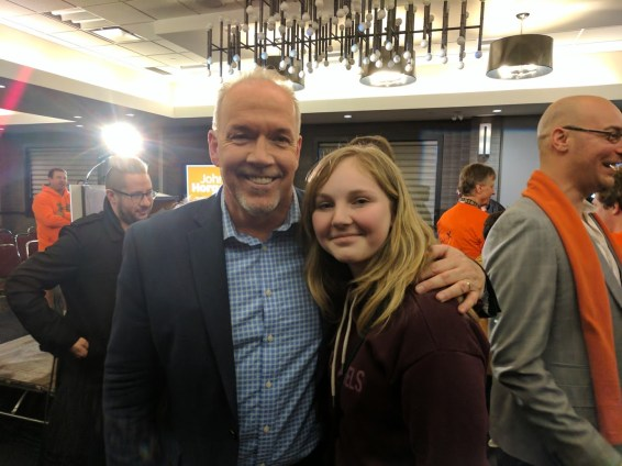 John Horgan and future IBEW member Kira Schmidt