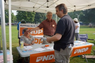The Kamloops NDP had a booth with our friends Michael and Jesse