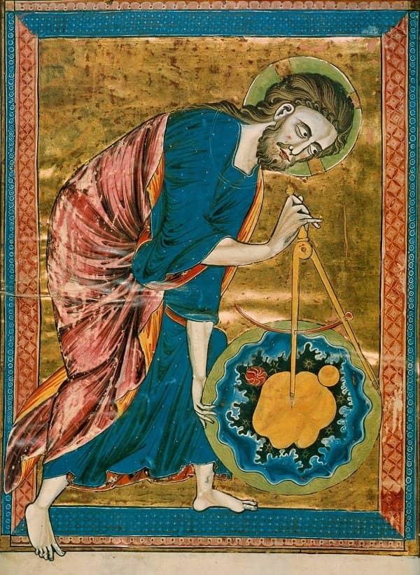 Dios como arquitecto, ilustración de una biblia medieval
