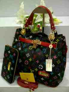 ED0 Lv KD Set 8802-1 Multy Black Semi Super 32x18x25 (Dalaman Kanvas Merah)