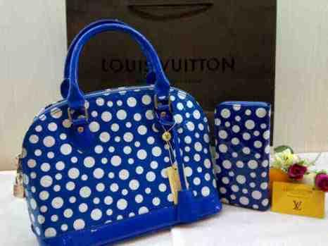 Lv yayoi Alma super set dompet 30x23x15 free paper bag blue 280