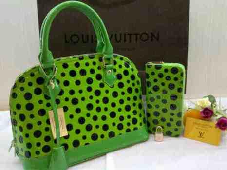 Lv yayoi alma super set dompet 30x23x15 free paper bag green 280