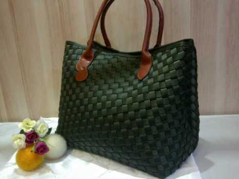 Sale Maribel Semi Ori bahan polyester gagan kulit asli 35x28x19 Green army 300rb