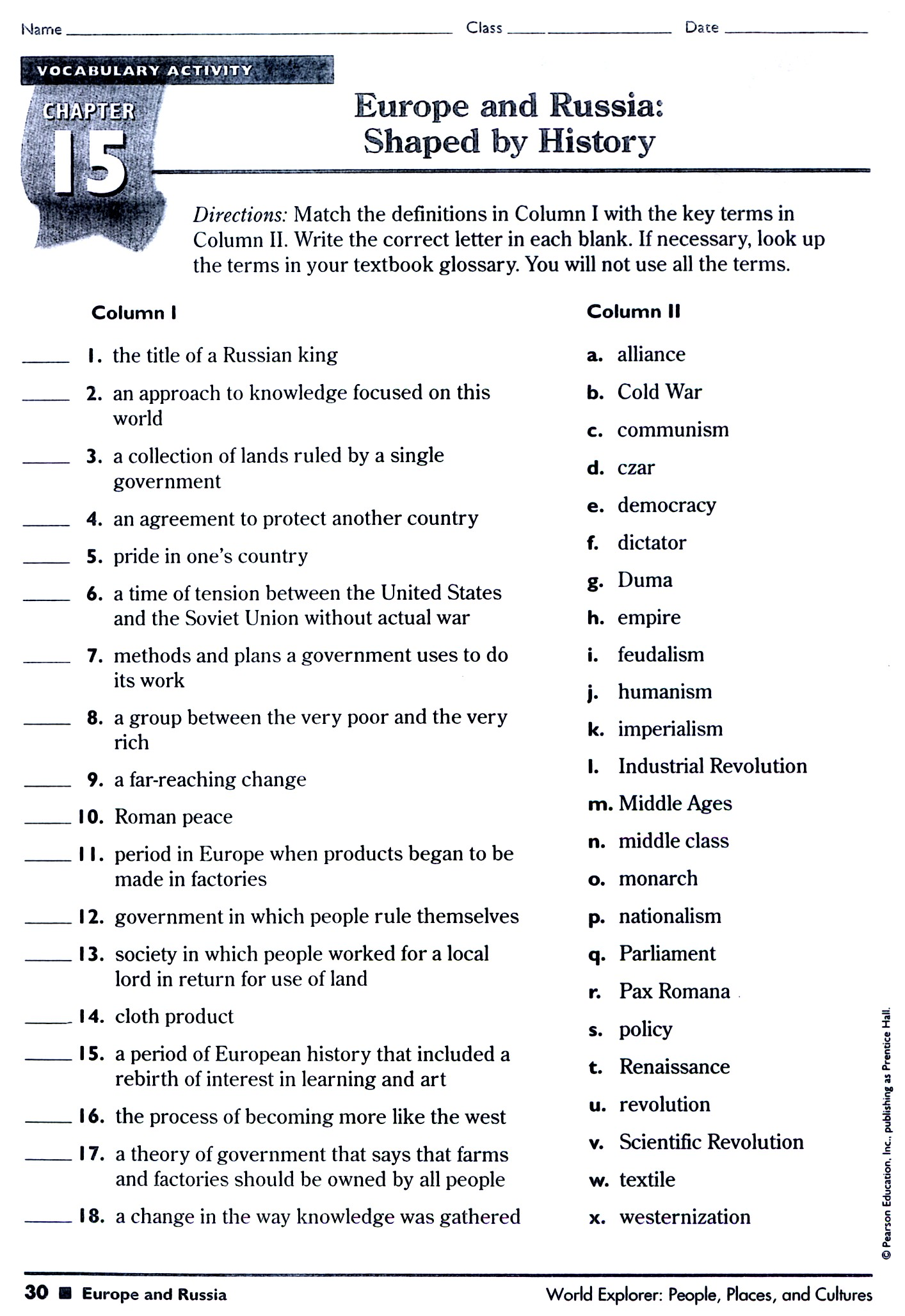 Vocab Worksheet Middle School