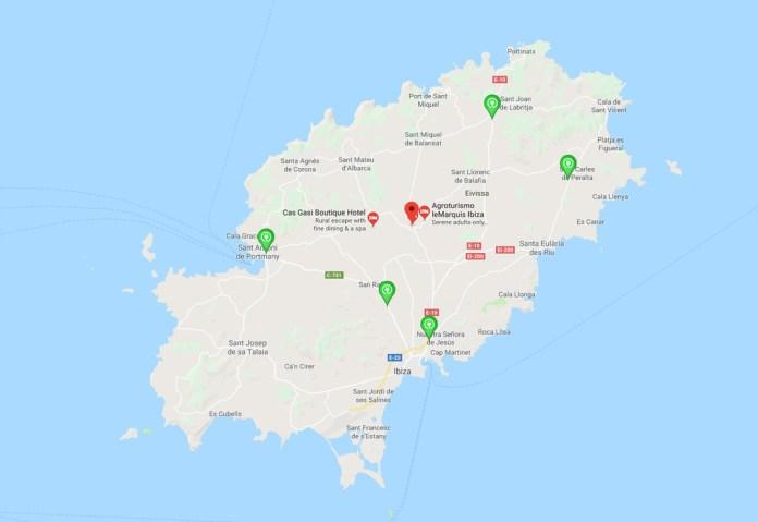 Mapa con los puntos de recarga