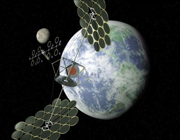 Solar power satellite sandwich