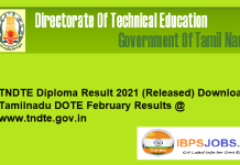 TNDTE Diploma Result 2021