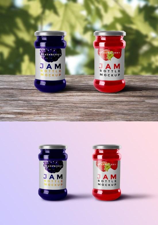 Jam Bottle Mockup PSD por GraphicsFuel