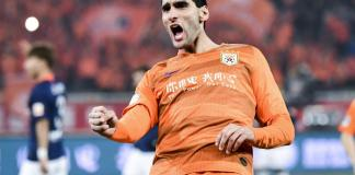 JINAN, CHINA - MARCH 01: #25 Marouane Fellaini of Shandong Luneng celebrates a goal during the 2019 Chinese Super League match between Shandong Luneng and Beijing Renhe at Luneng Stadium on March 1, 2019 in Jinan, China. (Photo by DI YIN/Getty Images)