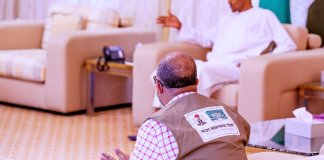 Breaking: President Buhari currently receiving briefing from PTF