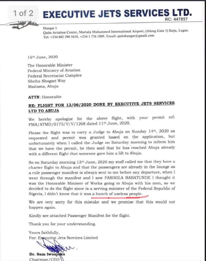 Naira Marley's team used 'Babatunde Fashola' to secure flight services – Executive Jet