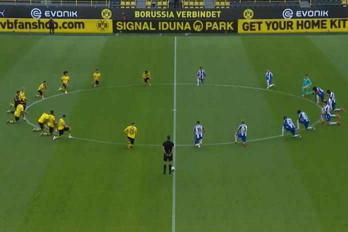 Borussi Dortmund, Hertha Berlin players kneel in tribute to George Floyd