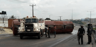 Tragedy averted as tanker laden with PMS overturns in Ogun