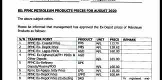 Breaking: FG puts ex-depot price of PMS at N138.62/L
