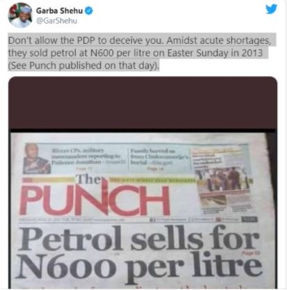 Revealed! PDP sold petrol for 600/litre - Garba Shehu