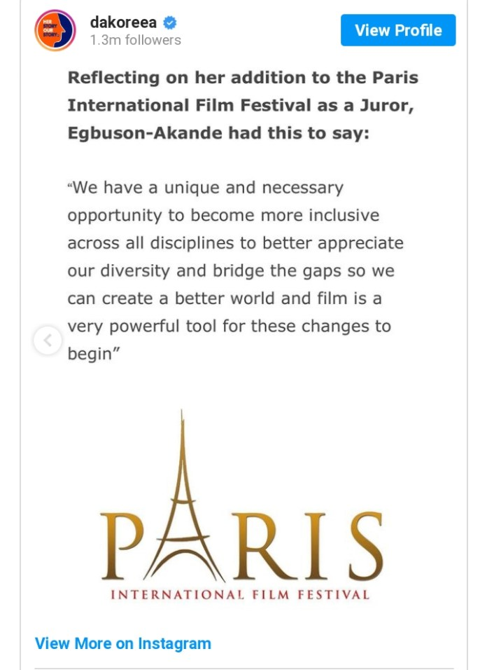 Nigerian Actress Dakore Egbuson- Akande Becomes Jury Member For Paris International Film Festival