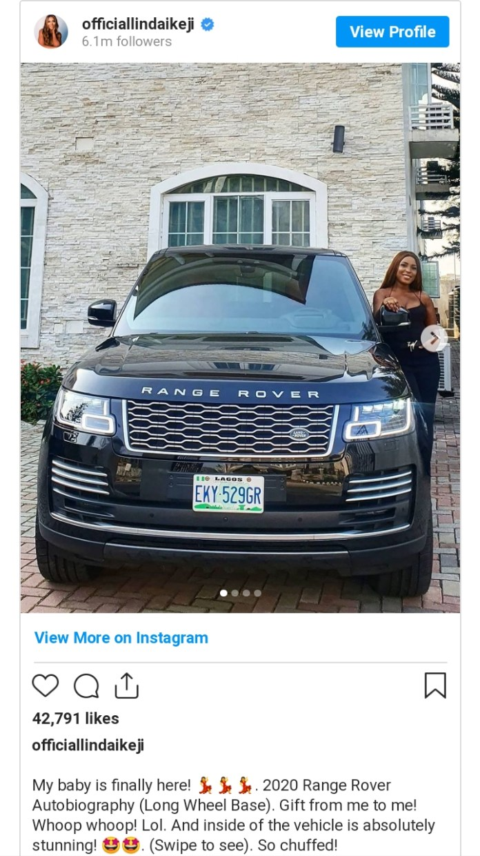 Linda Ikeji Finally Takes Delivery Of Her Range Rover Autobiography