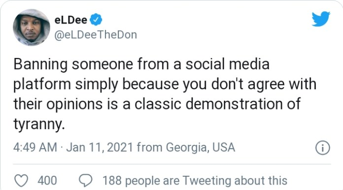 """Banning Someone From Social Media Is A Classic Demonstration Of Tyranny"" Rapper Eldee Speaks On Ban Of Trump From Social Media"