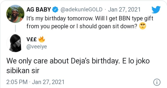 Checkout What Vee Said To Adekunle Gold As He Asks For BBNaija Type Of Gift For His Birthday