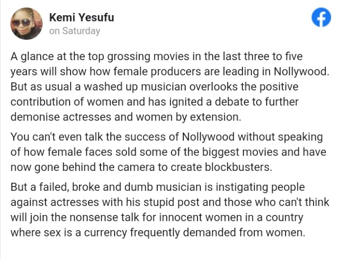 Writer, Kemi Yesufu Calls Out Ruggedman Over Post On Nigerian Actress' Earnings