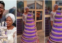 Comedian Mr Macaroni Celebrate His Mom With Huge Money Cake On Her Birthday