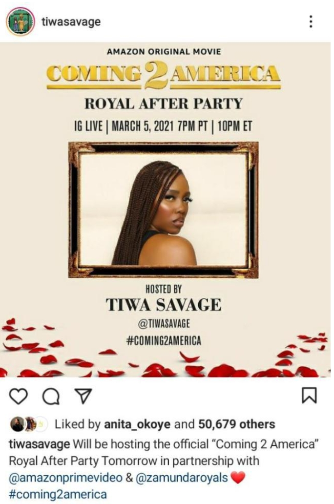 Singer, Tiwa Savage To Host After Party Of Popular Movie 'Coming To America 2'